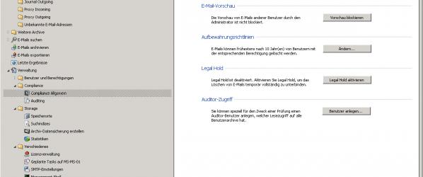 MailStore Server 7 Kontenansicht