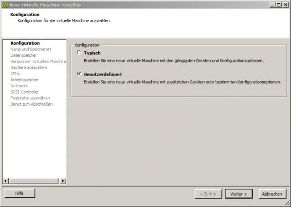 VMware Eigenschaftsmenü 1