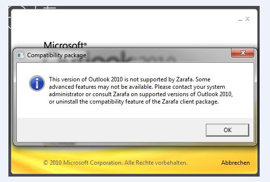 Outlook Fehlermeldung