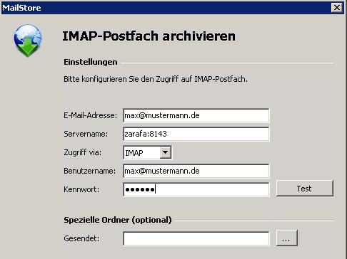 MailStore Benutzeranlage