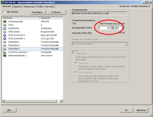 vmware konfigurationsfenster